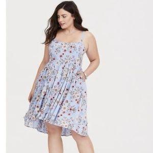 Torrid Baby Blue and peach flower dress